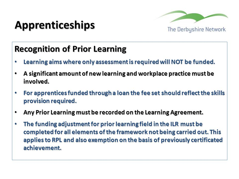 Apprenticeships Recognition of Prior Learning
