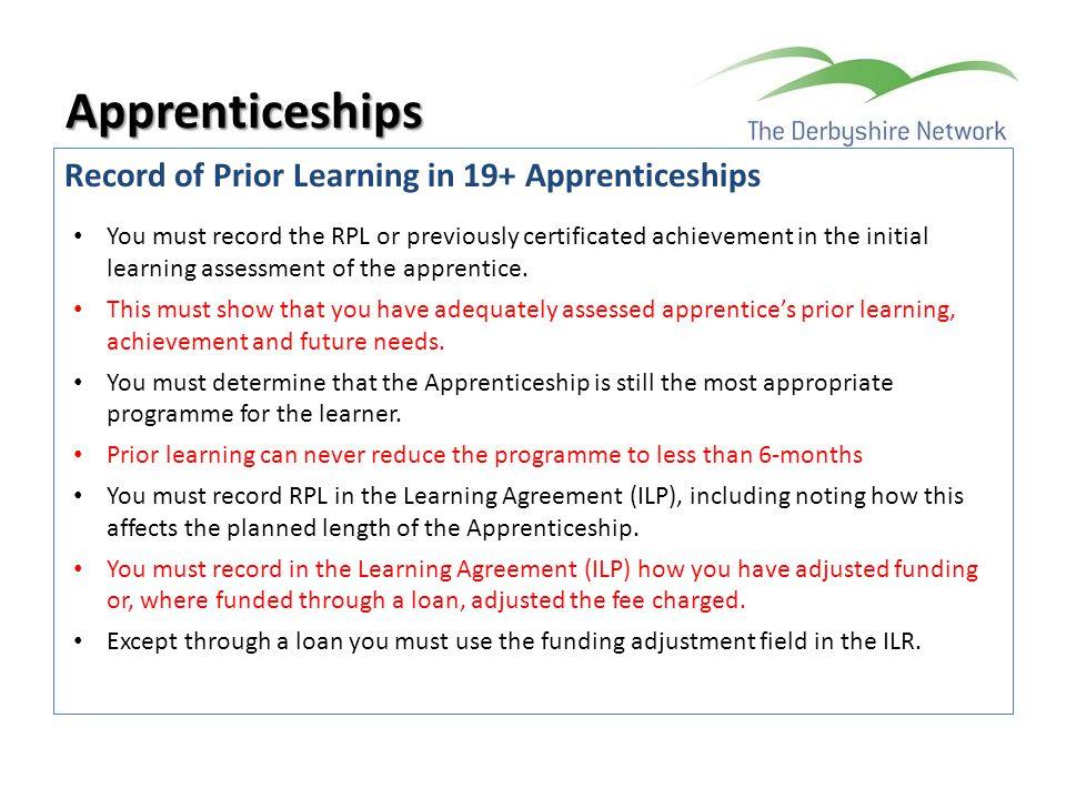 Apprenticeships Record of Prior Learning in 19+ Apprenticeships