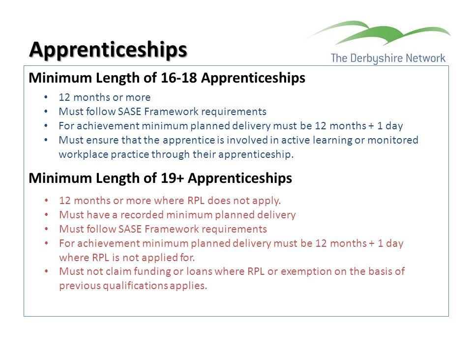 Apprenticeships Minimum Length of 16-18 Apprenticeships Minimum Length of 19+ Apprenticeships 12 months or more.