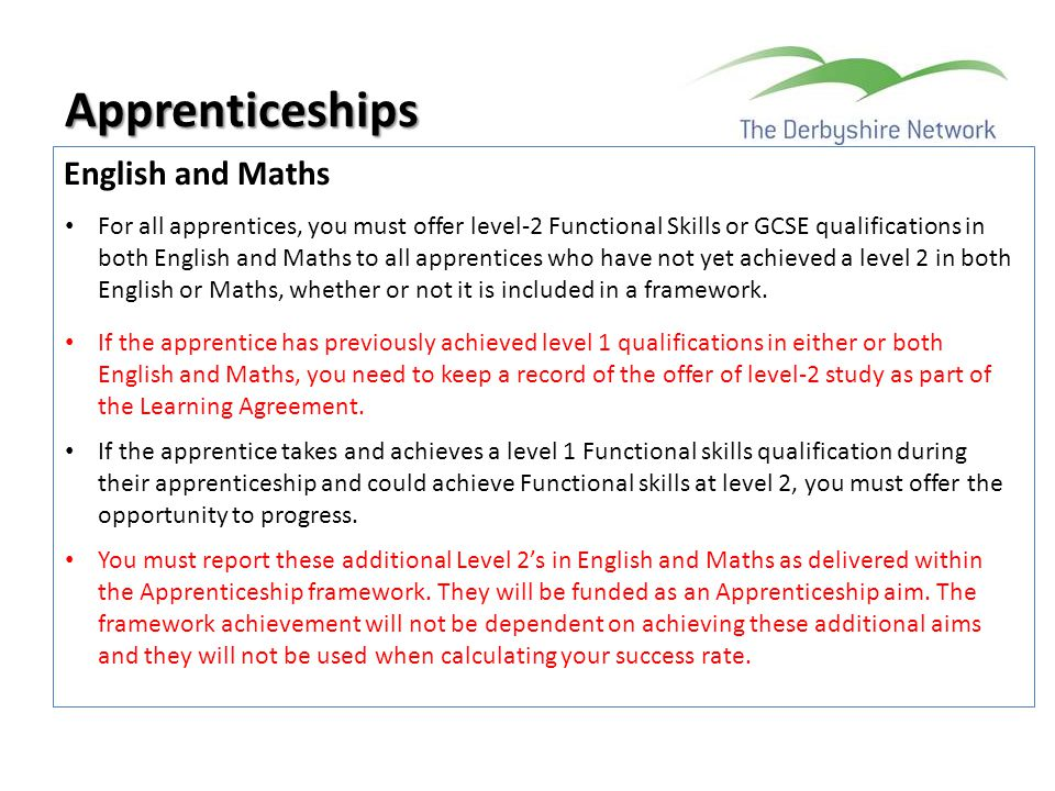 Apprenticeships English and Maths