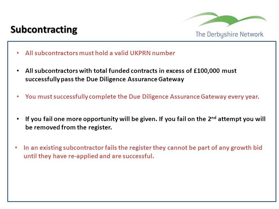 Subcontracting A All subcontractors must hold a valid UKPRN number