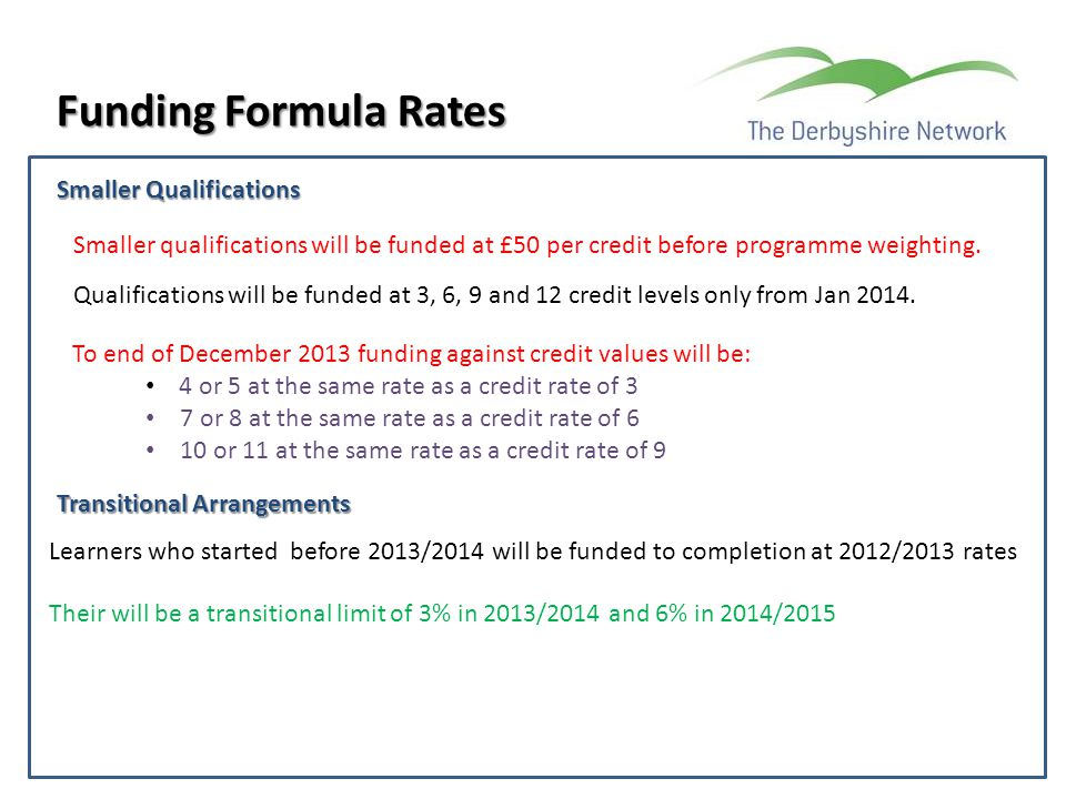 Funding Formula Rates Smaller Qualifications