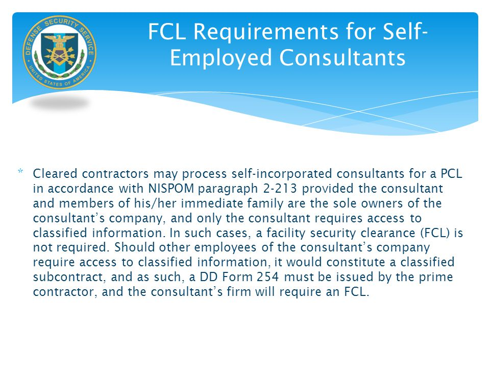 FCL Requirements for Self-Employed Consultants