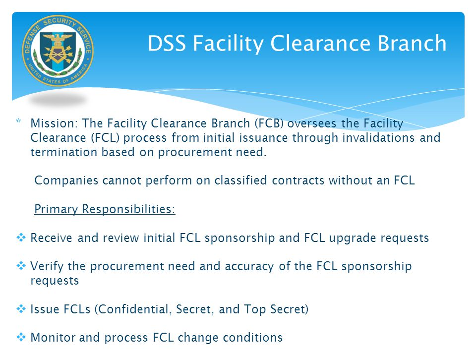 DSS Facility Clearance Branch