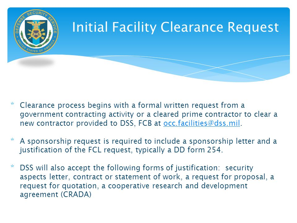 Initial Facility Clearance Request