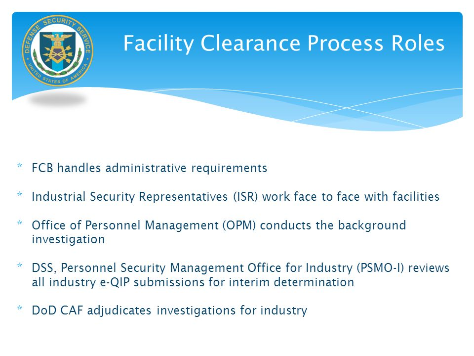 Facility Clearance Process Roles