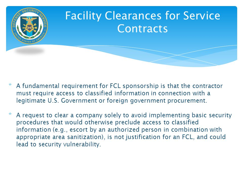 Facility Clearances for Service Contracts