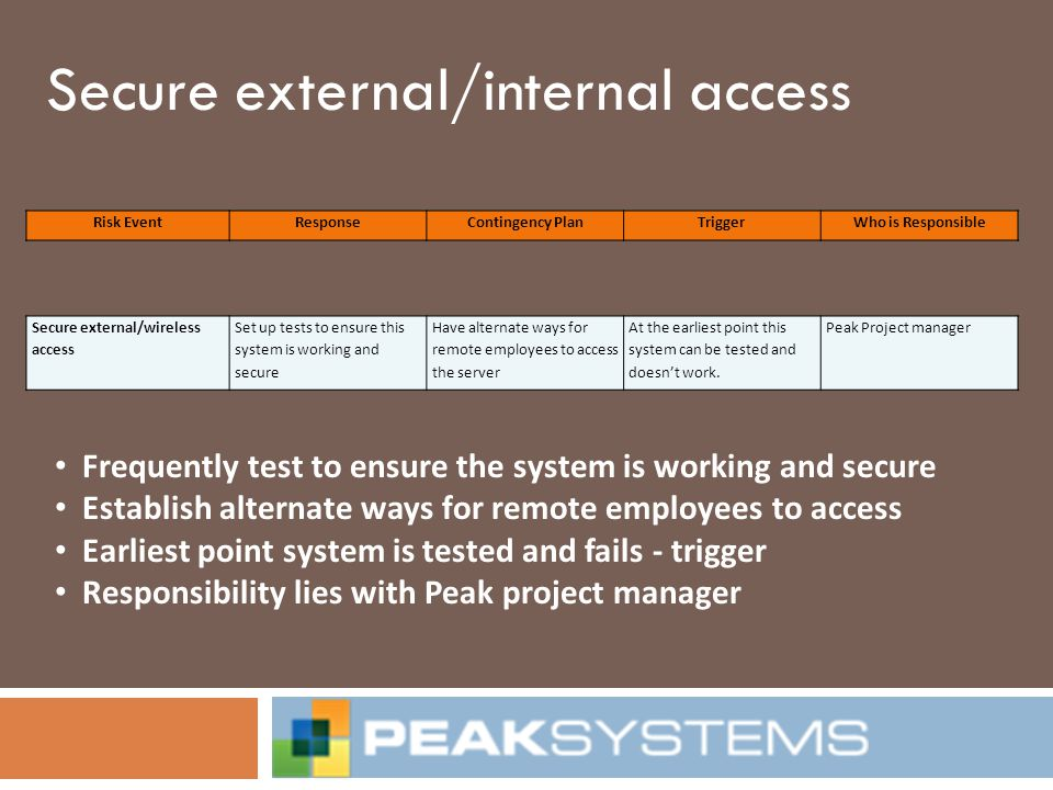 Secure external/internal access