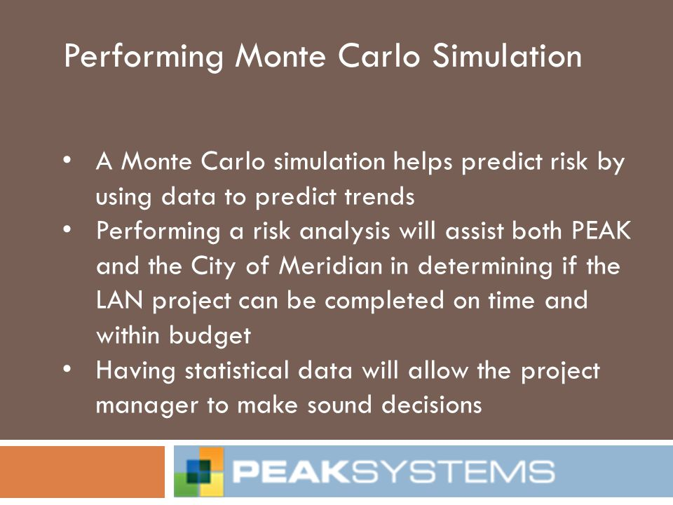 Performing Monte Carlo Simulation