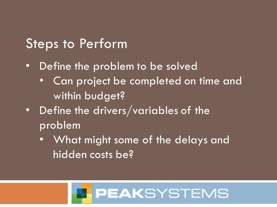 Steps to Perform Define the problem to be solved