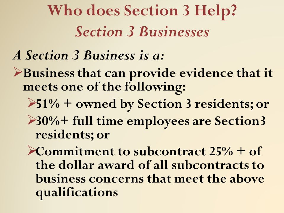 Who does Section 3 Help Section 3 Businesses