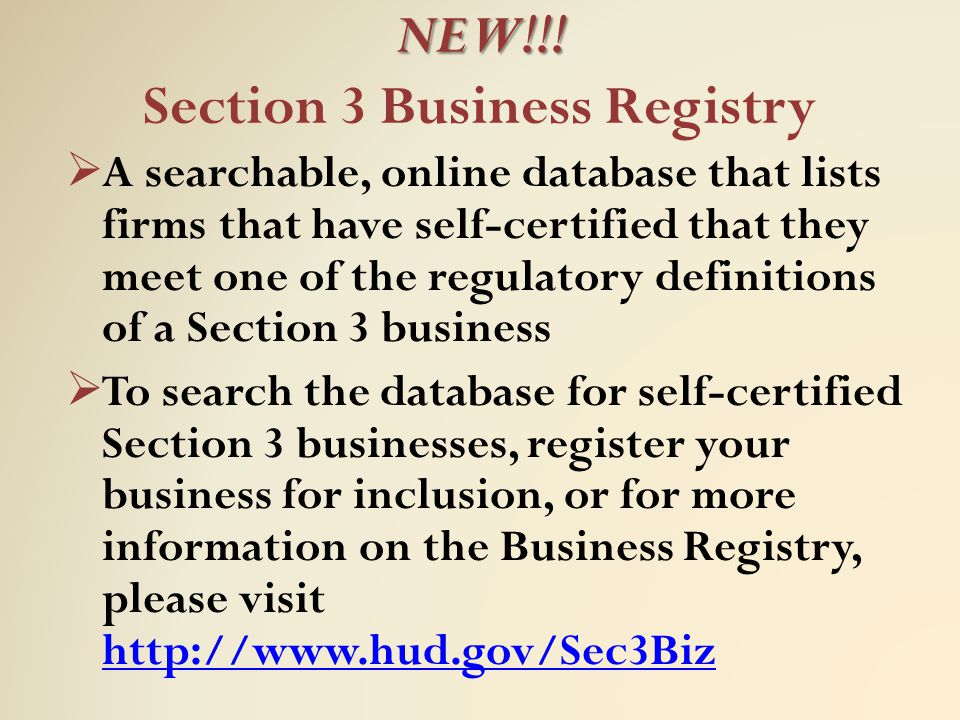 NEW!!! Section 3 Business Registry