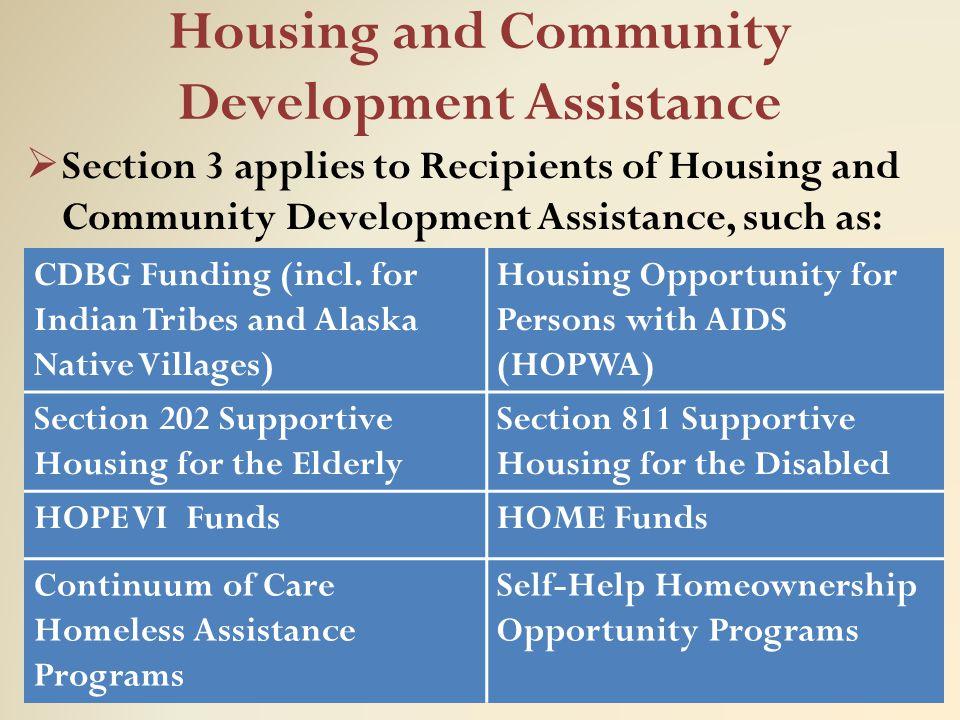 Housing and Community Development Assistance