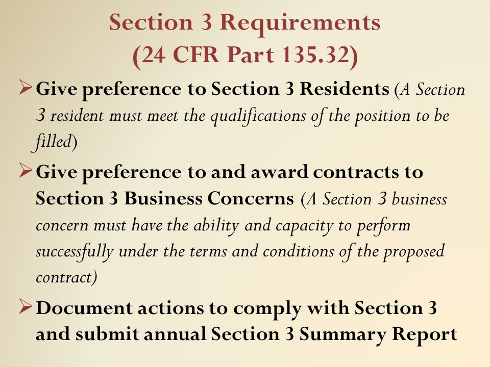 Section 3 Requirements (24 CFR Part 135.32)