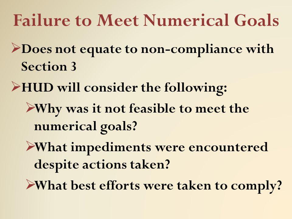 Failure to Meet Numerical Goals