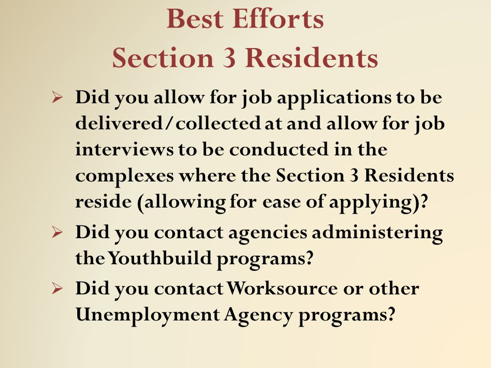 Best Efforts Section 3 Residents