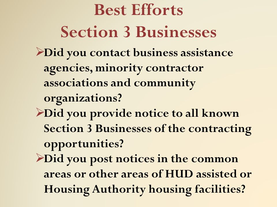 Best Efforts Section 3 Businesses