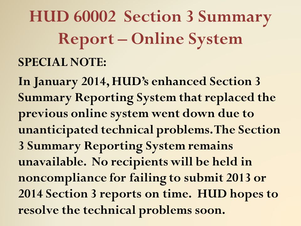 HUD 60002 Section 3 Summary Report – Online System