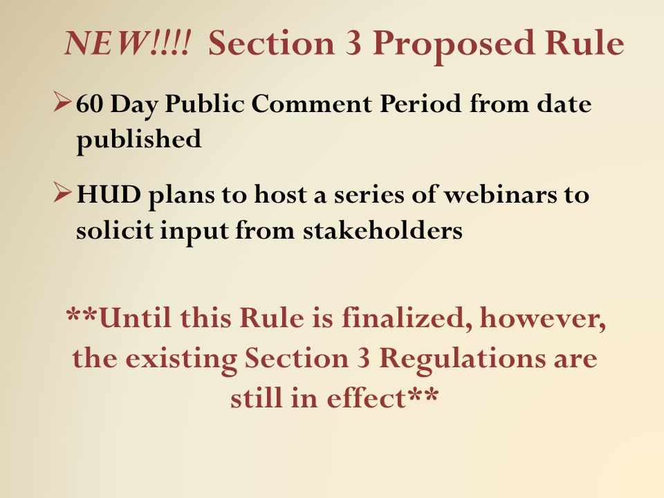 NEW!!!! Section 3 Proposed Rule