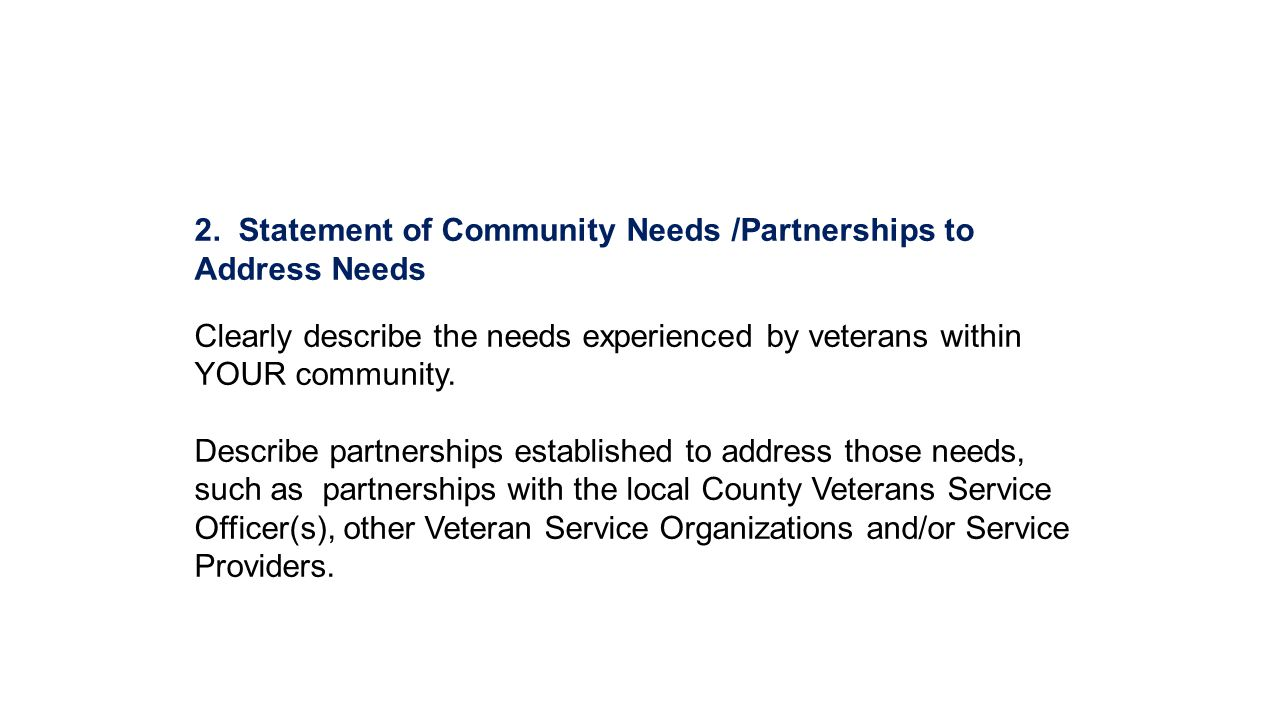 2. Statement of Community Needs /Partnerships to Address Needs