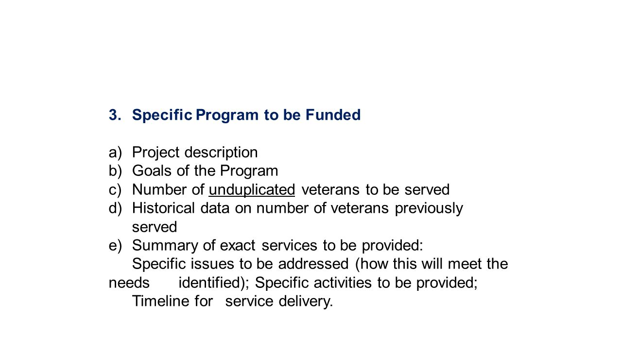 Specific Program to be Funded
