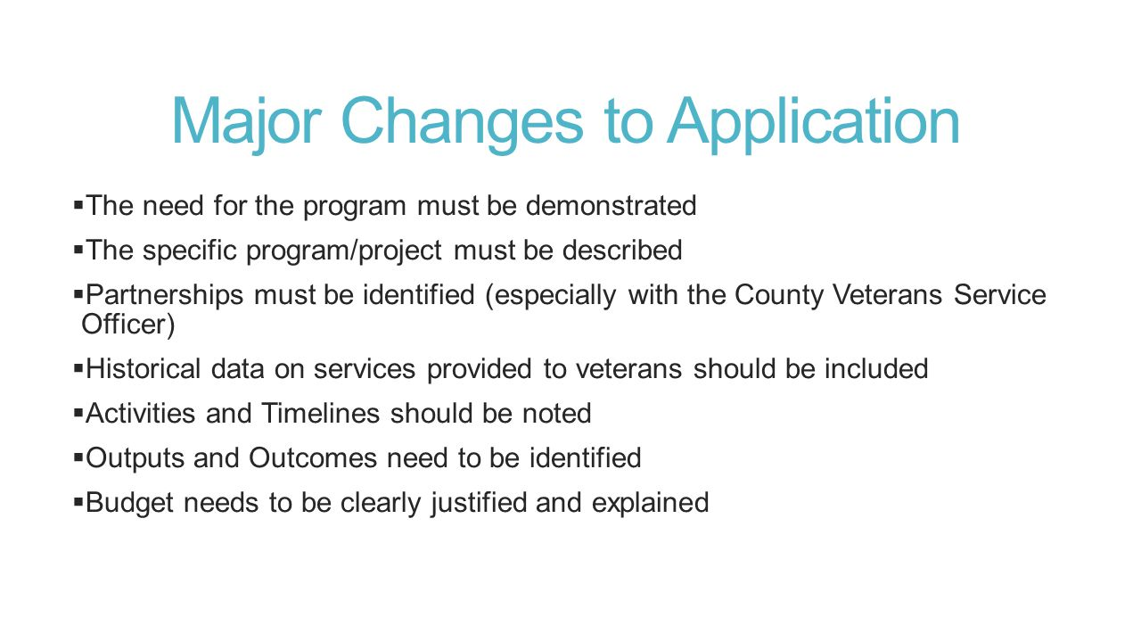 Major Changes to Application