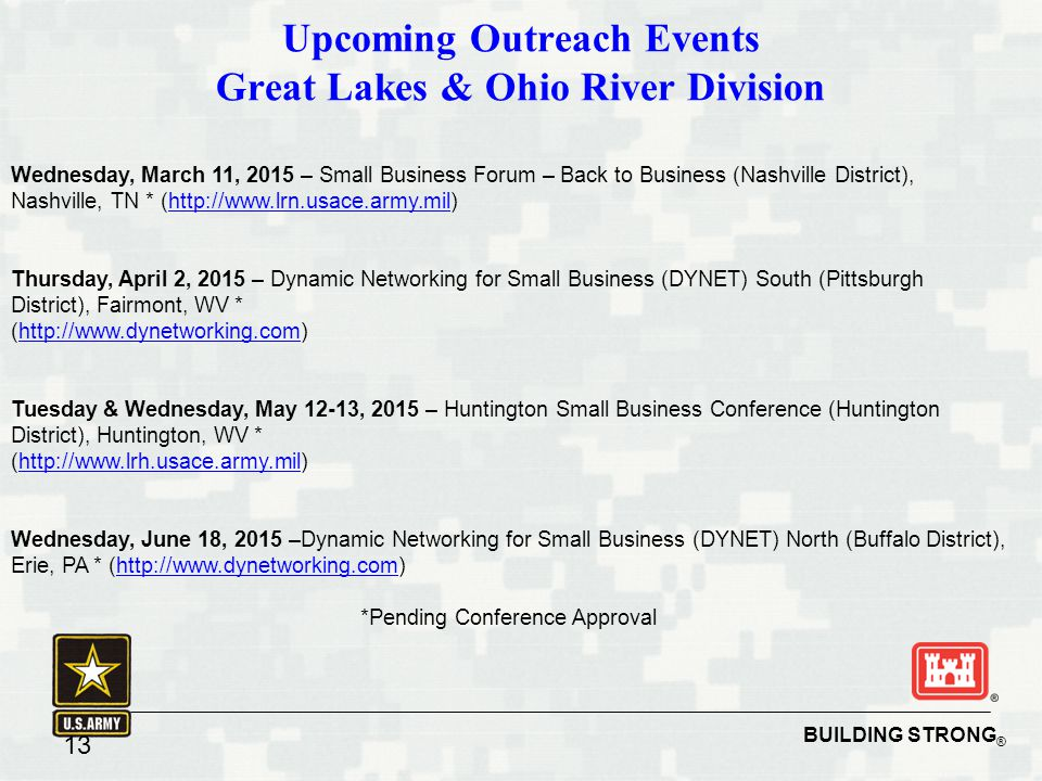 Upcoming Outreach Events Great Lakes & Ohio River Division