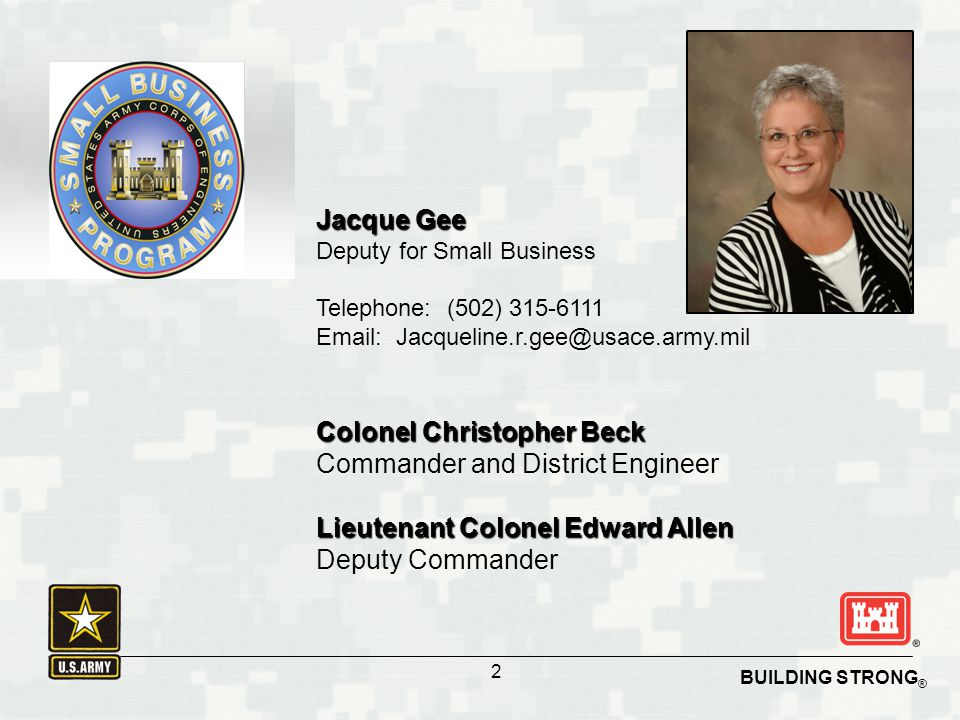 Colonel Christopher Beck Commander and District Engineer