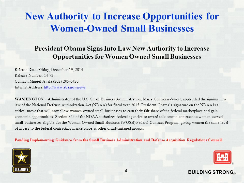 New Authority to Increase Opportunities for Women-Owned Small Businesses