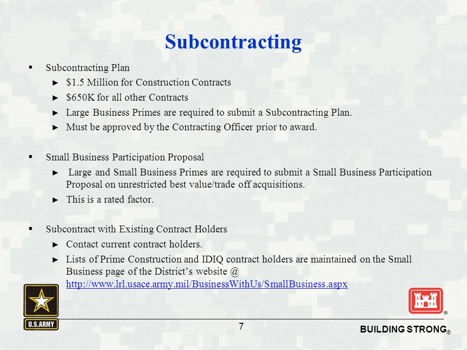 Subcontracting Subcontracting Plan