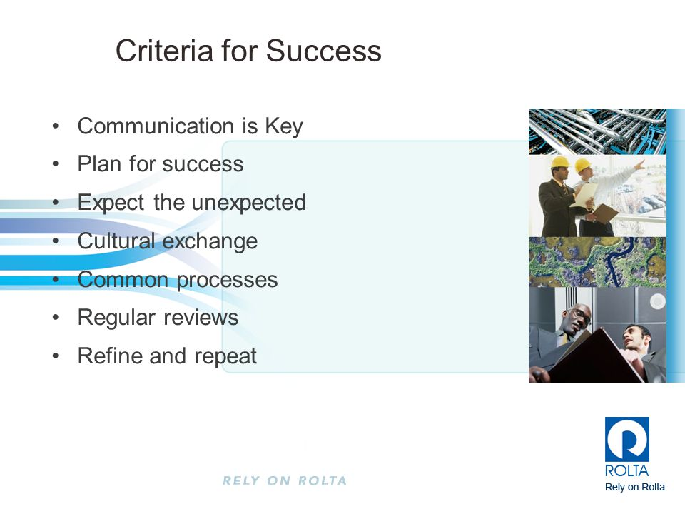 Criteria for Success Communication is Key Plan for success
