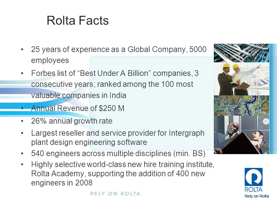 Rolta Facts 25 years of experience as a Global Company, 5000 employees
