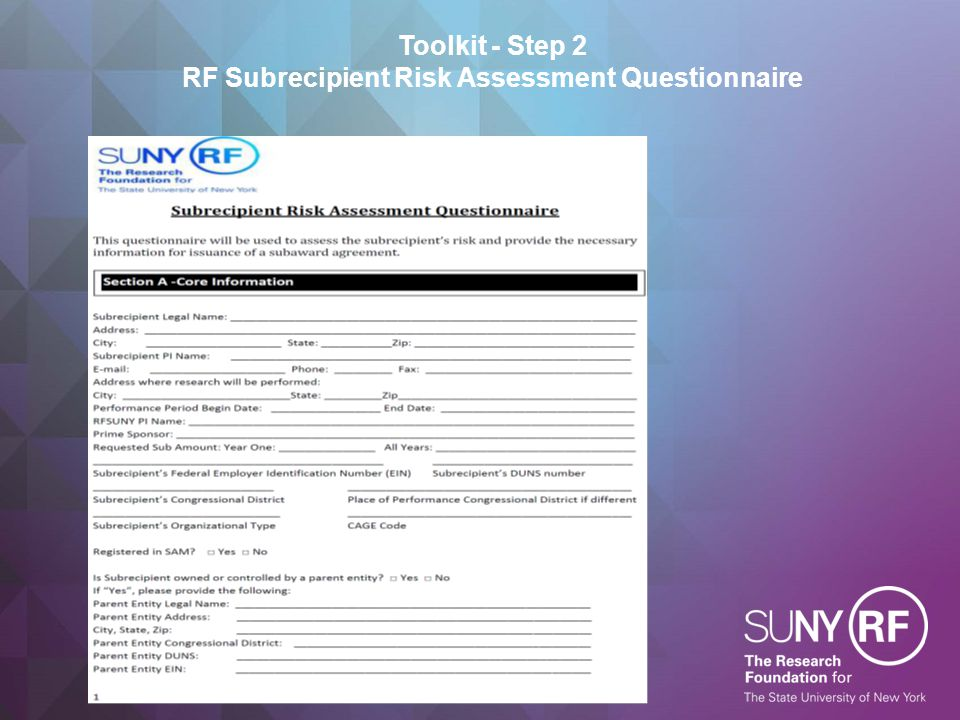Toolkit - Step 2 RF Subrecipient Risk Assessment Questionnaire