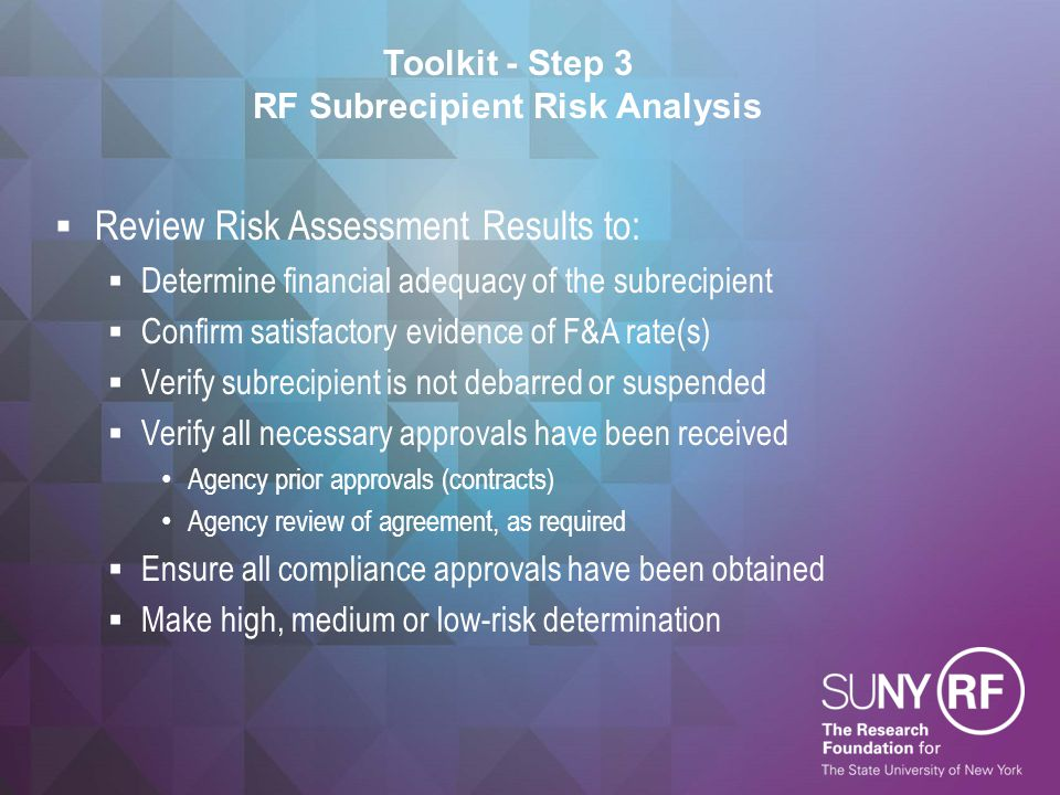 Toolkit - Step 3 RF Subrecipient Risk Analysis