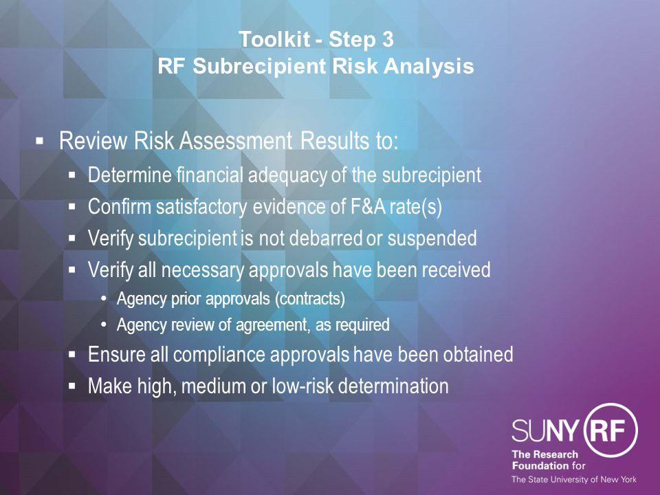 Toolkit - Step 3 RF Subrecipient Risk Analysis