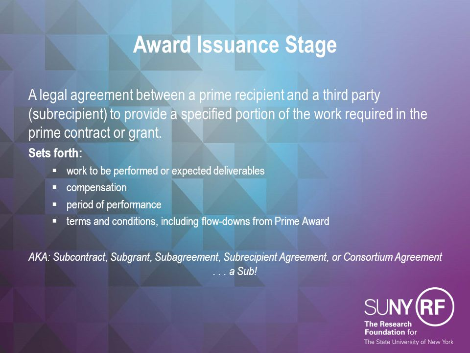 Award Issuance Stage