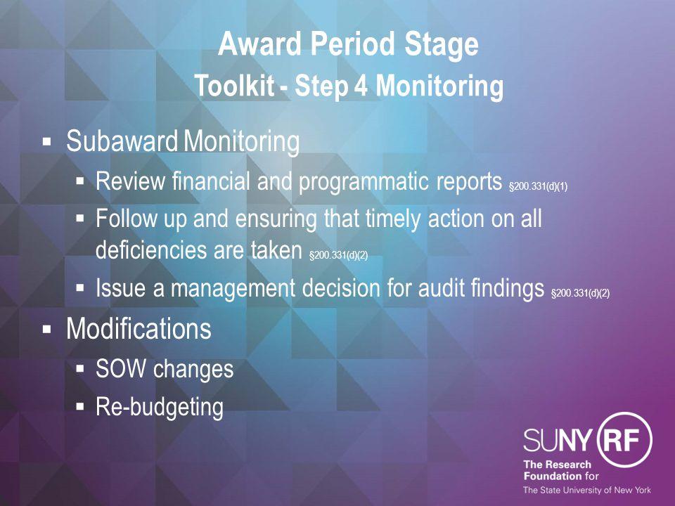 Award Period Stage Toolkit - Step 4 Monitoring