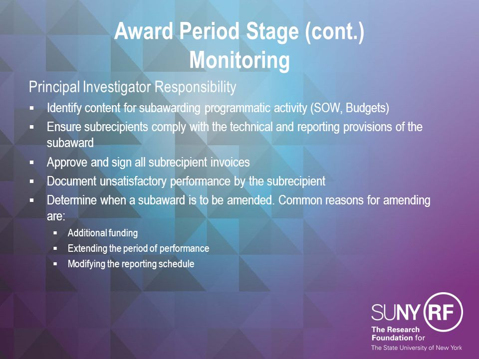 Award Period Stage (cont.) Monitoring