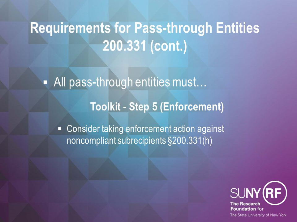 Requirements for Pass-through Entities 200.331 (cont.)
