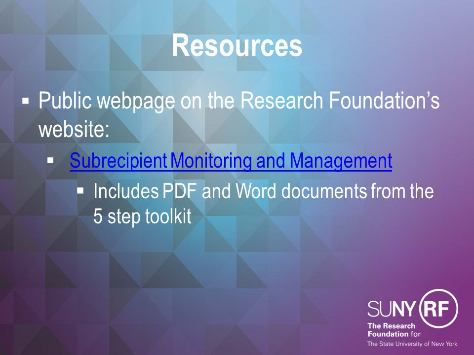 Resources Public webpage on the Research Foundation's website: