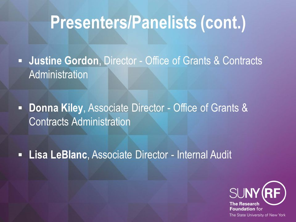 Presenters/Panelists (cont.)