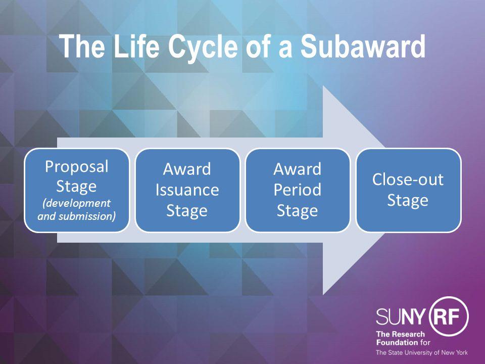 The Life Cycle of a Subaward