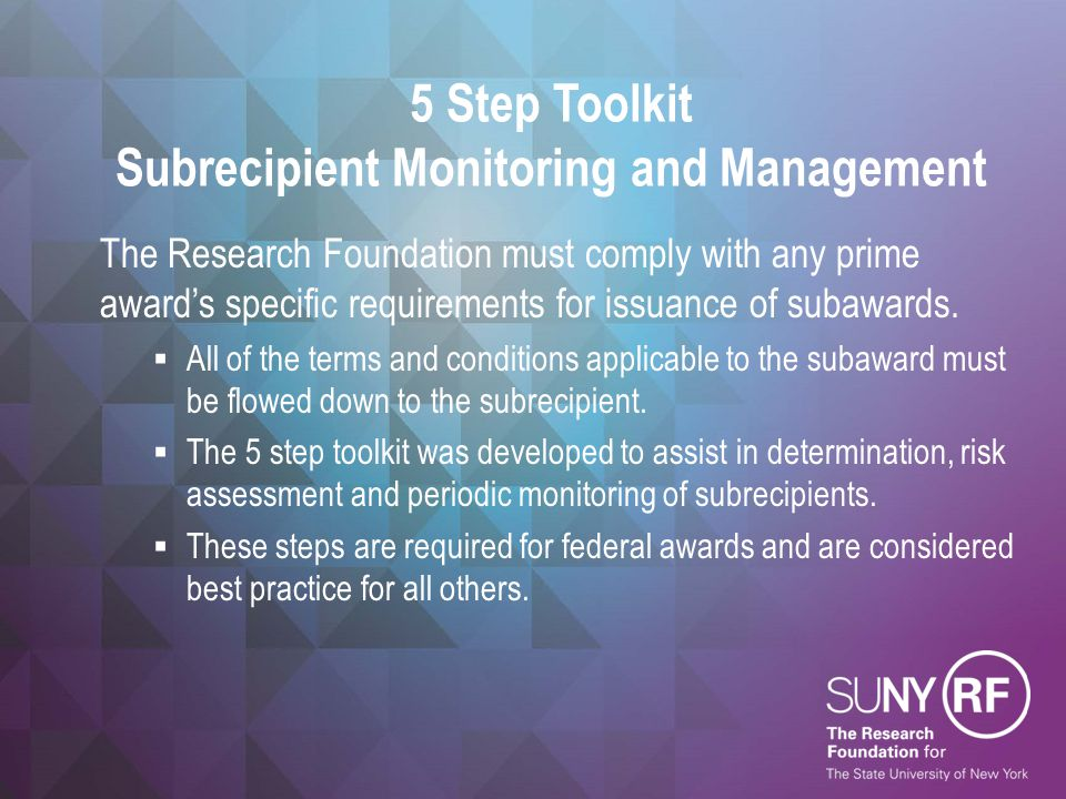 5 Step Toolkit Subrecipient Monitoring and Management