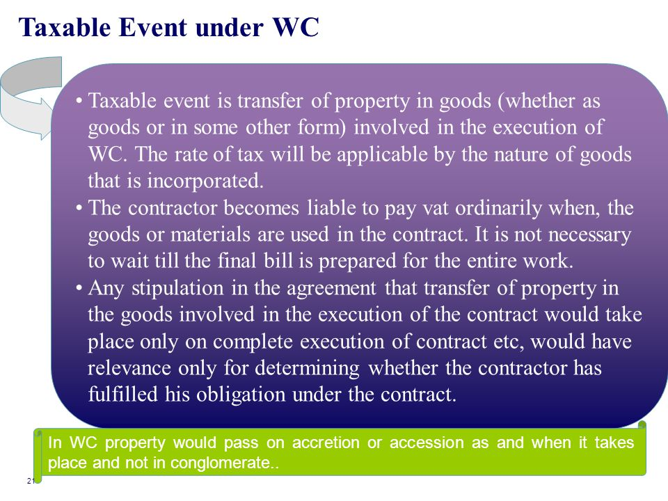 Taxable Event under WC