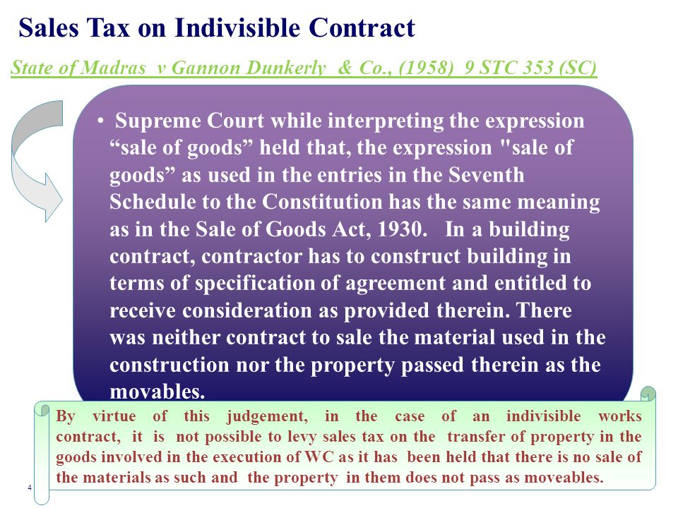Sales Tax on Indivisible Contract