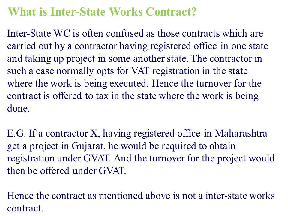 What is Inter-State Works Contract