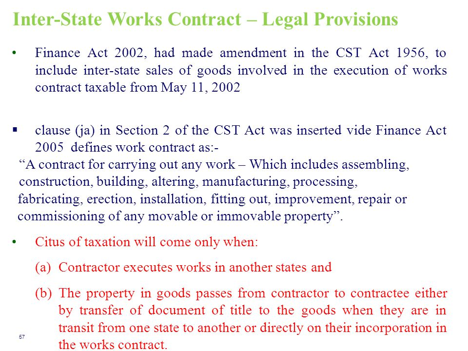 Inter-State Works Contract – Legal Provisions