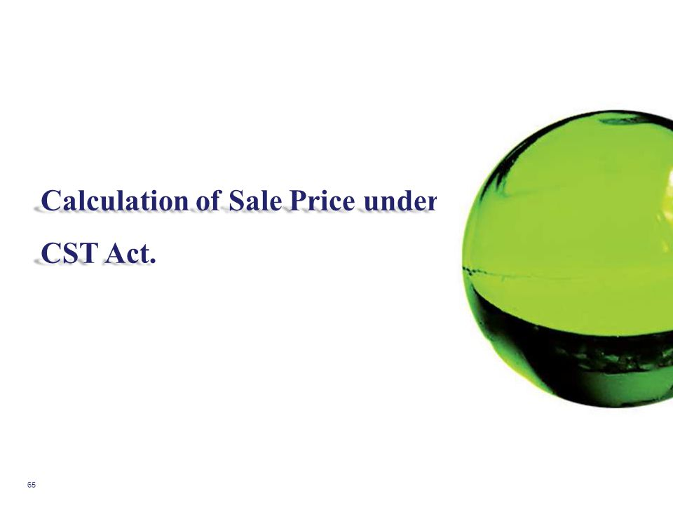 Calculation of Sale Price under