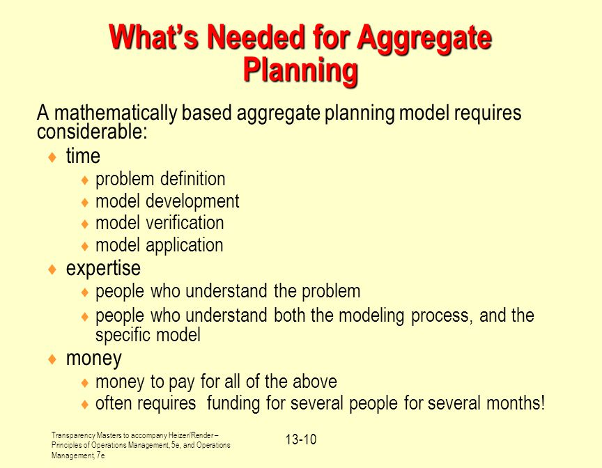What's Needed for Aggregate Planning