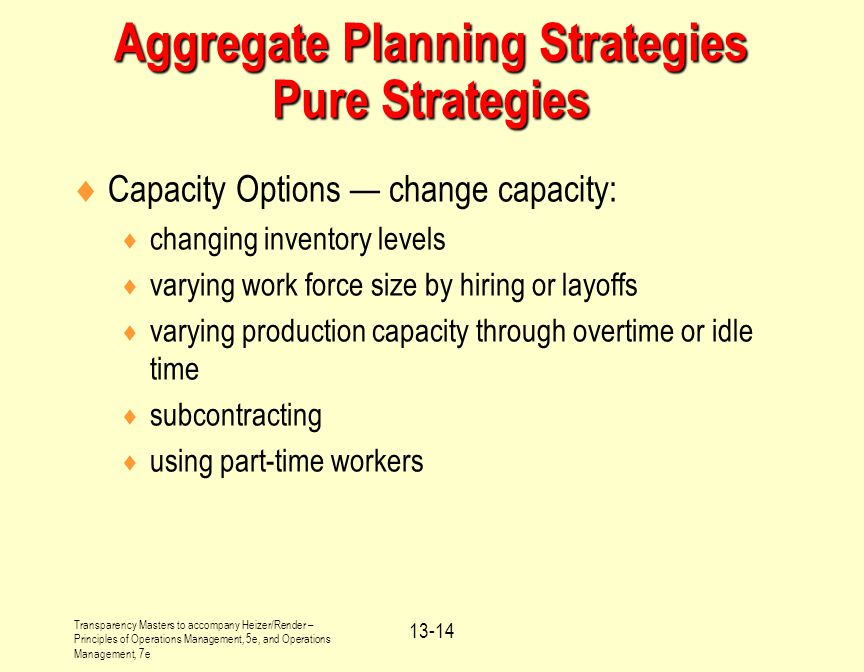 Aggregate Planning Strategies Pure Strategies